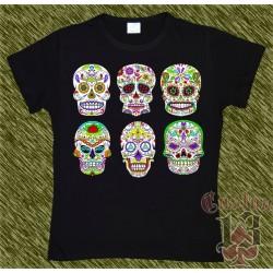Camiseta negra de mujer, Mexican Skull x 6