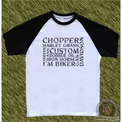 camiseta beisbol, palabras biker, negro
