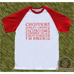 camiseta beisbol, palabras biker, rojo