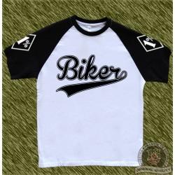 camiseta beisbol, biker negra