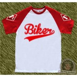 camiseta beisbol, biker roja