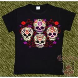 Camiseta mujer, Calaveras mexicanas con flores