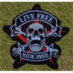 Parche grande, live free - ride free, new.