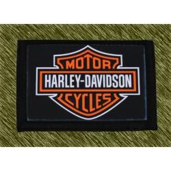 cartera nylon con cadena, harley logo naranja