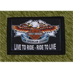 cartera nylon con cadena, harley, live to ride ride to live