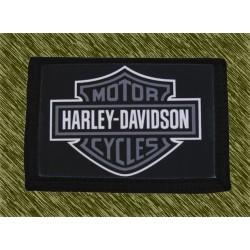 cartera nylon con cadena, harley logo gris