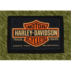 cartera nylon con cadena, harley logo vintage