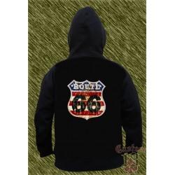 Sudadera con capucha, route 66, números negros