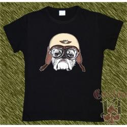 Camiseta negra de mujer, perro biker 1