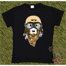 Camiseta negra de mujer, perro biker 2