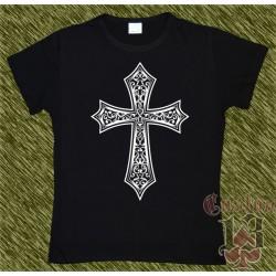 Camiseta negra de mujer, cruz celta 01