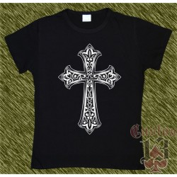 Camiseta negra de mujer, cruz celta 02