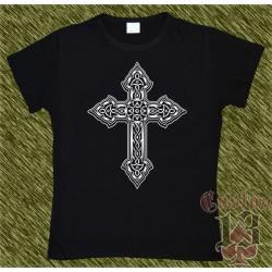 Camiseta negra de mujer, cruz celta 04