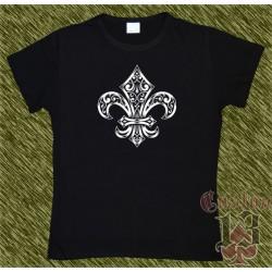 Camiseta negra de mujer, flor de lis 01
