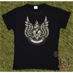 Camiseta negra de mujer, corazón alas