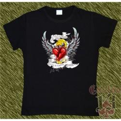 Camiseta negra de mujer, freedom, true love