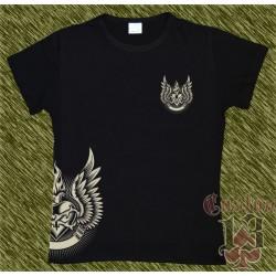 Camiseta negra de mujer, corazón alas lateral