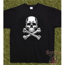 Camiseta negra, calavera tibias new