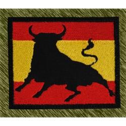 parche bordado, bandera con toro