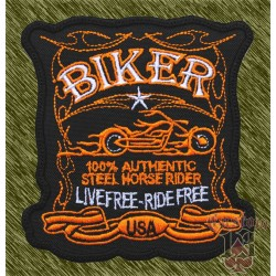 Parche bordado biker, live free ride free