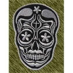 Parche bordado, calavera mexicana gris