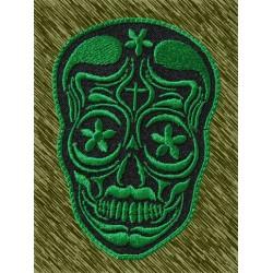 Parche bordado, calavera mexicana verde