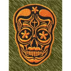 Parche bordado, calavera mexicana naranja