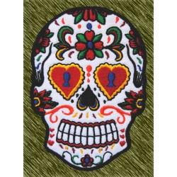 Parche bordado, calavera mexicana ojos cerradura