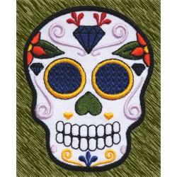 Parche bordado, calavera mexicana diamante
