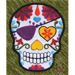 Parche bordado, calavera mexicana pirata