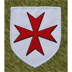 parche bordado, escudo cruz de la orden de San Juan
