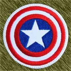 parche bordado, capitán américa borde blanco