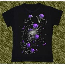 Camiseta Dark13 mujer, calavera de las rosas