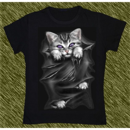 Camiseta Dark13 mujer, gato escapando