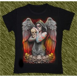 Camiseta Dark13 mujer, ángel catrina tatuada