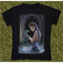 Camiseta Dark13 mujer, dragón de agua