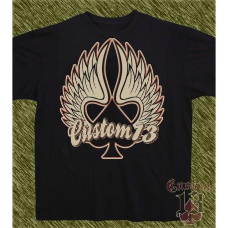 Camiseta negra, custom13 alas