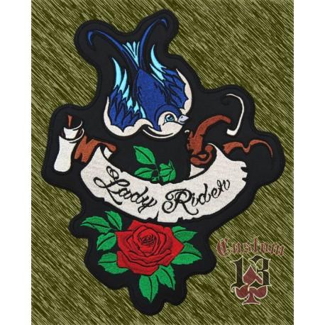 parche bordado para espalda, lady rider golondrina