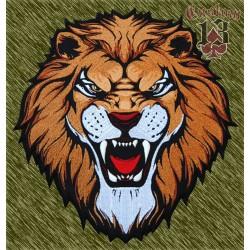 parche bordado para espalda, cabeza de león