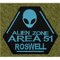 Parche bordado, alien zone area 51