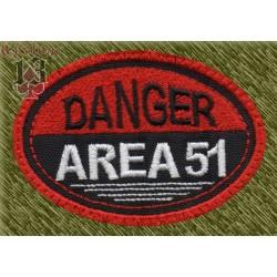 Parche bordado, danger, area 51 ovalado