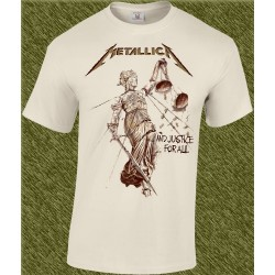Camiseta beig,metallica, and justice for all