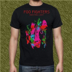 Camiseta negra, foo fighters, wastinf light