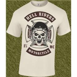 Camiseta beig, hell riders motorcycle
