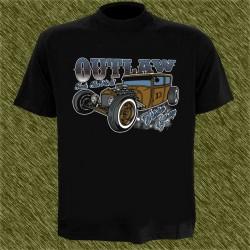 Camiseta negra, outlaw thirteen garge