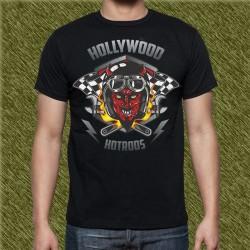 Camiseta negra, holliwood hot rod