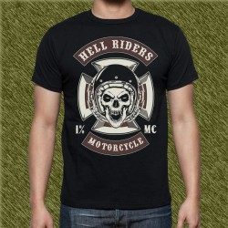 Camiseta negra, hell rider motorcycle