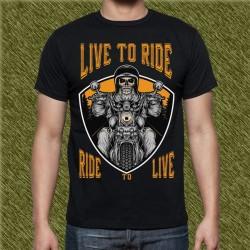 Camiseta negra, live to ride, ride to live