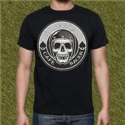 Camiseta negra, cafe racer calavera