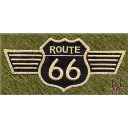 Parche bordado, route 66 alas beig